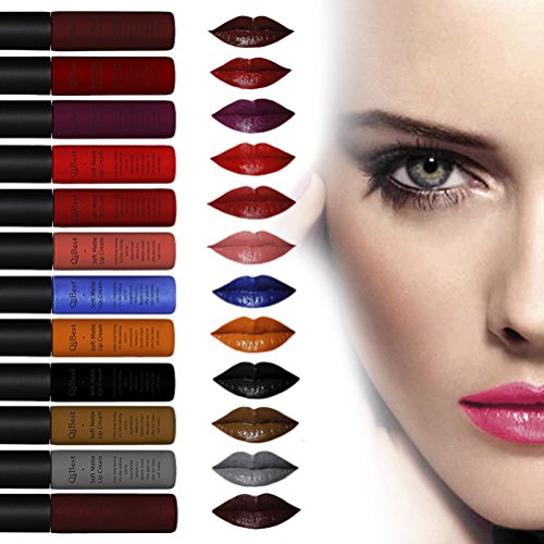 Greencolourful Lippenstifte 12 er Farben Wasserdichte Flüssige Lippenstift Make Up Liquid Lip Gloss...