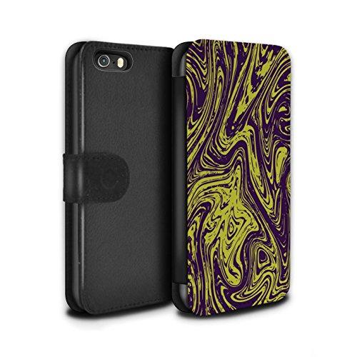 Stuff4 Coque/Etui/Housse Cuir PU Case/Cover pour Apple iPhone SE / Argent Design / Effet Métal Liquide Fondu Collection Jaune