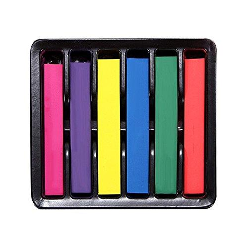TIFIY 6 PCS Einmalige temporäre One-off einmalige mehrfarbige ungiftige Haarfärbemittel Pulver Haarfärbungsrinne Haarfarbe Kreide (6 Farben) (Fleck Kreide Farbe)