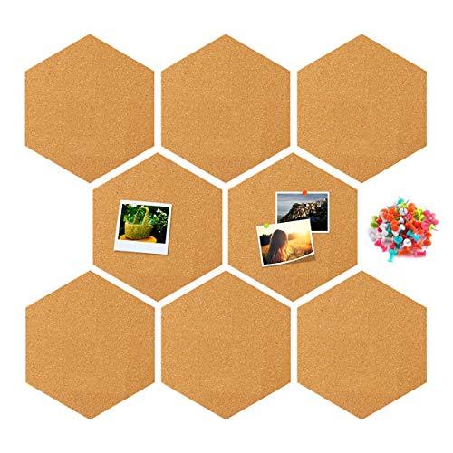 RIOGOO Hexagon Cork Board, Wall Bulletin Boards mit Full Sticky Back Wanddekoration für Bilder, Fotos, Notizen, Ziele, Zeichnen, Paingting, Bonus 32 Pins -