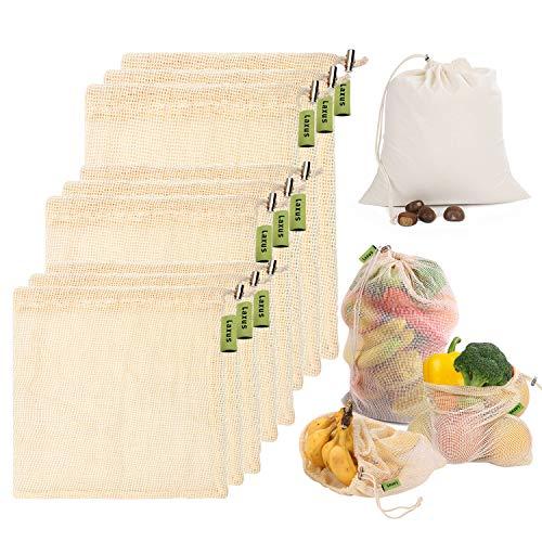 d6c8f44b98 Reusable Produce Bags, Laxus 10pcs Washable Natural Cotton Mesh Bag Eco  Friendly Toy Fruit Vegetable