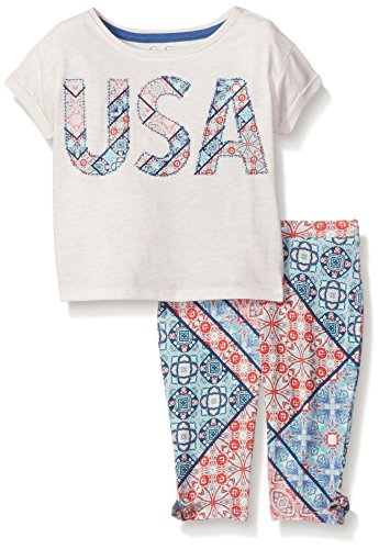 Jessica Simpson Little Girls' Echo USA/Bandana 2Pc Set, Oatmeal Heather, 4 -