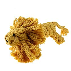 Rrimin Handmade Braid Squirrel Toy Cotton Rope Chewing for Pet Dog Teeth Grind (Yellow)