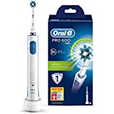 Oral-B PRO 600 CrossAction - Cepillo de dientes eléctrico recargable con tecnología Braun