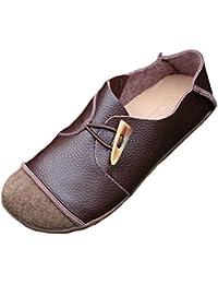 MatchLife Femmes Rétro Lacets en Cuir Plates Chaussures