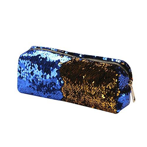 Goosuny Damen Kosmetiktasche Mode Doppelte Farbe Pailletten Make-Up Beutel Handtasche Kleine Zipper Kosmetiktäschchen Taschen Schöne Coole Handtaschen Beautycase Schminkkoffer(Blau)