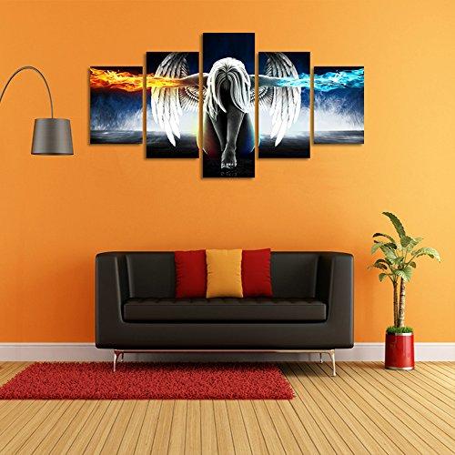 CrmOArt 5 Stück Moderne Leinwand Gemälde Wandkunst Das Bild Für Heimtextilien Engel mit Flügeln Malerei Feuer und Eis Anime Thema Abstrakte Druck auf Leinwand Giclee Artwork für Wand Dekor Gerahmt