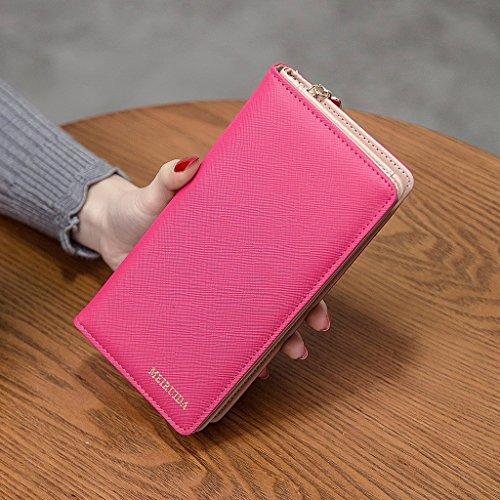 MagiDeal Borsa Portafogli Raccoglitore Della Frizione Porta Documenti per Donna Ragazze - Verde Rosa rosso