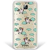 Funda Huawei GX8 / G8, WoowCase® [Hybrid] Unicornios Arcoiris Colección Dibujos Animales Case Carcasa [Huawei GX8 / G8] Rígida fabricada en Policarbonato y bordes de TPU Silicona híbrida - Transparente
