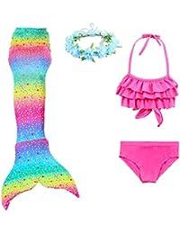 PaisDola Cola de Sirena para Niñas para Nadar Bikini de 3 Piezas y Diadema con Guirnaldas de Flores