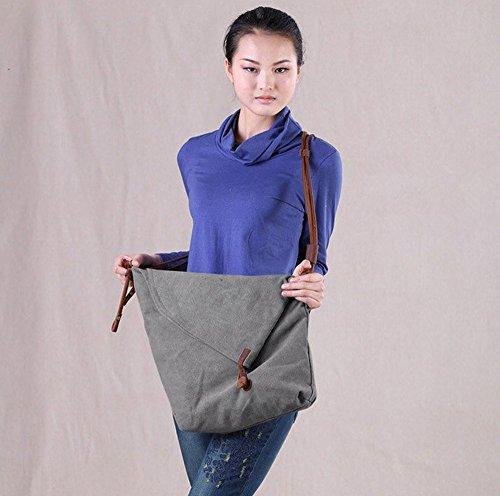 YAAGLE Damen Schultertasche Leinwand Unisex Umhängetasche retro Messenger Bag Mädchen Handtasche Canvas Tasche Herren Büffelleder Geldbörse grau