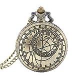 Reloj de bolsillo de aleación de cuarzo Wildlead Retro Steampunk con números romanos redondos
