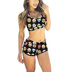 Transformee - Pinted Vest Sporty Shorts Slim Two Pieces Women Top & Bottom Bikini Sets (S, Emoji)