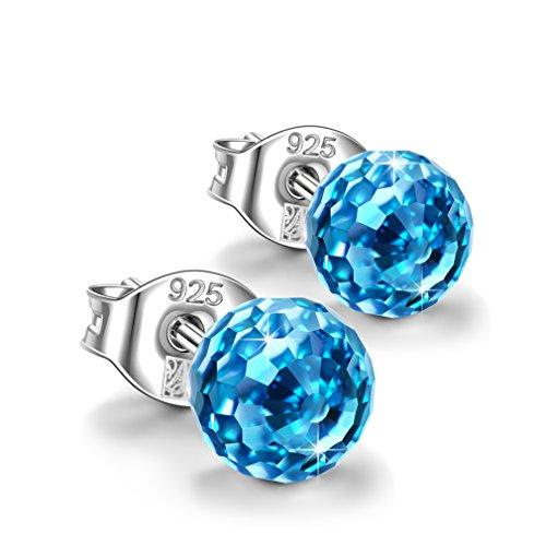Alex Perry geschenk fur frauen weihanchten ohrringe damen silber 925 ohrstecker swarovski blau kristall schmuck damen pärchen geschenk für frauen hochzeit geschenke für freundin mama festival schmuck
