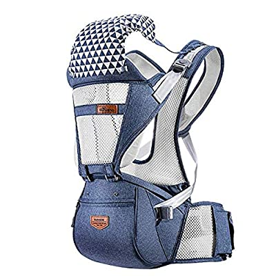 FTFTFTF Newborn Baby Carrier Ergonomic Hip Seat Front and Back Baby Carrier 0-36 20Kg (Breathable Blue),A