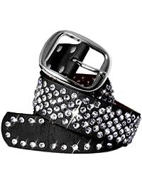 CASPAR Damen Gürtel / Hüftgürtel mit glitzernder Strass Kristall Nieten Teil Leder - viele Farben - GU260