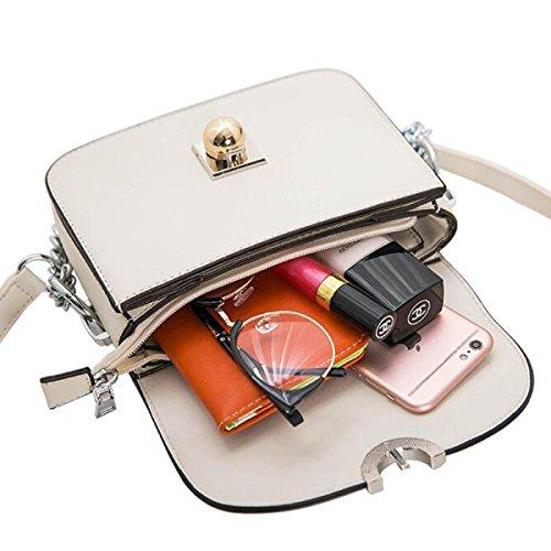 Frau Schultertasche Messenger Bag Kleine Quadratische Paket Schloss Kette Kleine Tasche Beige