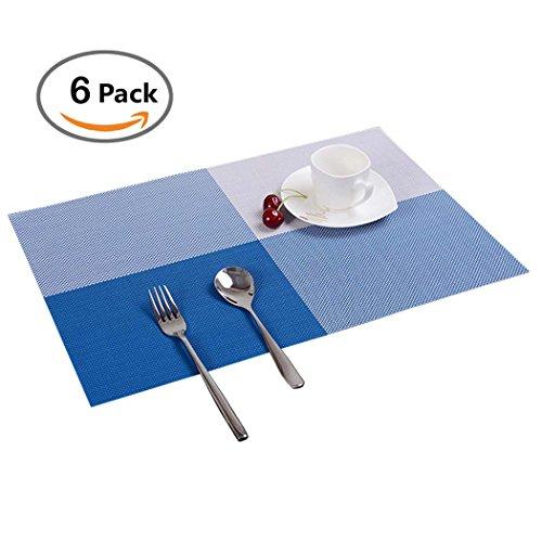 Tischmatten Set 6er PHOEWON PVC Rechteck Tischmatten Set Abwaschbar Isolierung Tischmatte Platzset Plastik für Esstisch, Küche 30x45CM (Blau)