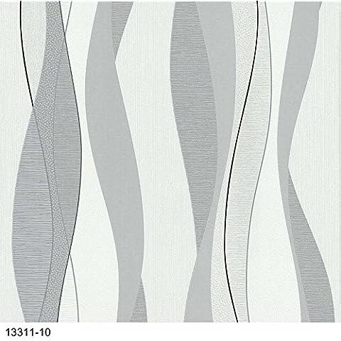 Papel Pintado P + S Fácil Schöner 13311–10líneas ondas Blanco Gris Negro Plata