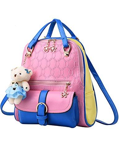 Menschwear PU Zaino Satchel Daypack sacchetto di scuola Bianco Rosa Blu