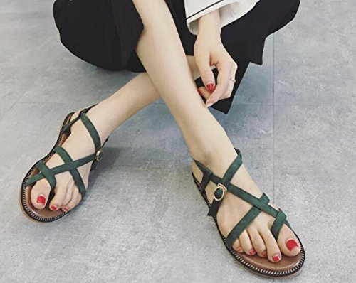 Beauqueen Clip Toe Popular Flat Cross Strap Collège Femmes Comforty Casual OL Sandales tout-assorties Prime Day EU Taille 35-39 Green