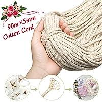 GEMITTO 90m x 5mm Natural Macrame Cotton Rope, Cord Craft Knitting Thread, String Wall Hanging Plant Hanger, Garden Flower Pot Holder Beige