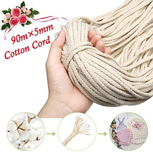 Gemitto corda di cotone naturale macramè di 90mx5mm, diy handmade craft cotone legando filo corda, filo per maglieria artigianale cordone, appendiabiti per piante da parete beige