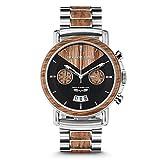 Original Grain hombres Cepillado de Brewmaster cronógrafo, reloj de plata con...