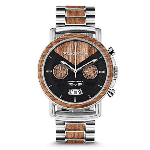 Uhr Mit Herren Stahlband Gebürstetes Silbernen Braumeister Original Grain Chronograph qSc4j5AR3L