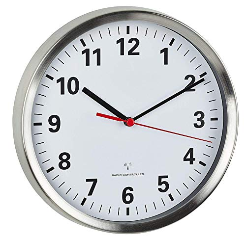TFA Dostmann 60.3529.02 Funkwanduhr mit geräuscharmen Sweep Uhrwerk (Edelstahl/weiß mit Batterie)