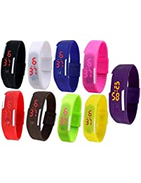 RTimes Unisex Multicolor Set of 9 Digital Rubber Jelly Slim Silicone Sports Led Smart Band Watch for Boys, Girls, Men, Women, Kids