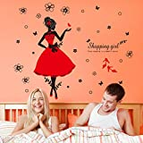 Wallpark Modus Einkaufen Mädchen im Rot Kleid & Hohe Verfolgte Schuhe Abnehmbare Wandsticker Wandtattoo, Wohnzimmer Schlafzimmer Haus Dekoration Klebstoff DIY Kunst Wandaufkleber