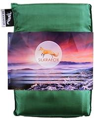 Silkrafox - Saco de dormir ultraligero para las excursiones de senderismo, los viajes, las acampadas, seda artificial, verde