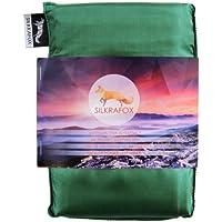 Silkrafox Saco de dormir ultraligero para las excursiones de senderismo, los viajes, las acampadas, seda artificial, verde