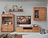 Wohnwand Anbauwand Wohnzimmerschrank 4-tlg. DEAN | Kernbuche | Massiv geölt | LED-Beleuchtung