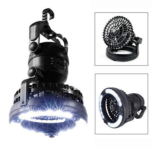 M Living 2-in-1 Campinglampe LED Lampe Ventilator Lüfter Leuchte Zeltlampe Beleuchtung (Schwarz)
