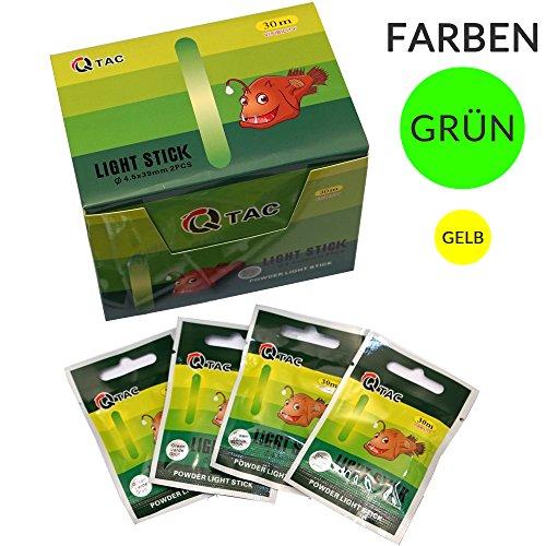 Q-TAC Knicklichter Grün zum Angeln, 100 Stück (Powder) bis 24h Brenndauer