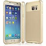 Samsung Galaxy S7 Edge Coque, Eutekcoo Samsung Galaxy S7 Edge Coque Housse Étui Hybride Couche 2 Lourde en PC + Silicone Dur Coque pour Samsung Galaxy S7 Edge-Doré