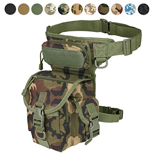 Tactical Drop Leg Bag Tool Fanny Oberschenkel Pack Leg Rig Utility Pouch Paintball Airsoft Motorrad Reiten Thermite Versipack Schwarz/Hellbraun/Armee Grün/Camouflage 7 Farben (Forest Camouflage)