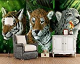 BZDHWWH Big Cats Jaguars Schwarzer Hintergrund Tier Fototapete Wohnzimmer Sofa Tv Wand Schlafzimmer Benutzerdefinierte 3D Große Wandbilder,420cm(W) x 260cm(H)