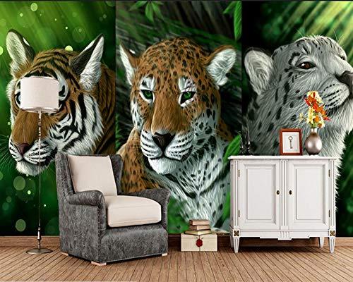 BZDHWWH Big Cats Jaguars Schwarzer Hintergrund Tier Fototapete Wohnzimmer Sofa Tv Wand Schlafzimmer Benutzerdefinierte 3D Große Wandbilder