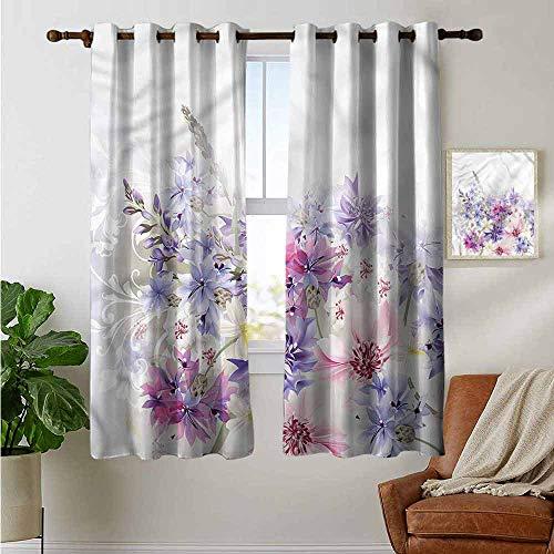 petpany Dekorative Vorhänge für Wohnzimmer, Lavendel, frische Blüten, Wildblumen, Verdunkelungsvorhänge für Schlafzimmer, Polyester, Color15, 42'x54'(W106cmxL137cm)