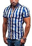 BOLF 5507-1 Dunkelblau XL [2B2] Kurzarm Herrenhemd Hemd Figurbetont Freizeit Slim Fit
