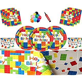 Building Blocks Birthday Party Tableware Block Party Childrens Happy Birthday Rainbow Theme Decorations- Serves 16