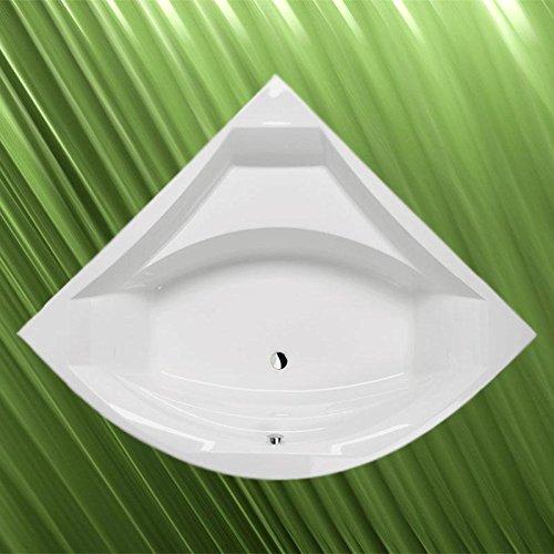 Preisvergleich Produktbild Eckbadewanne ROSANA 150x150x49cm, weiß, mit Ablaufgarnitur/Sifon und Wannenfüssen und Wandankern