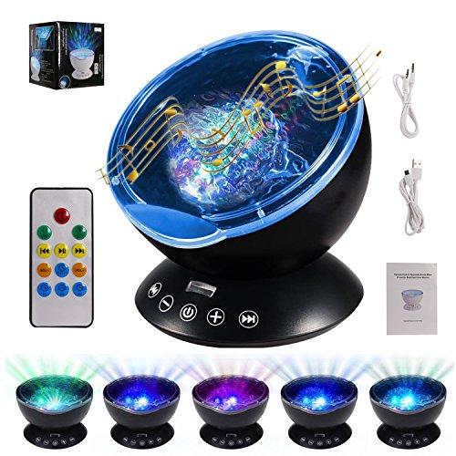 Ocean Wave Projektor mit Fernbedienung ALED LIGHT Nachtlicht-Projektor mit eingebautem HD Music Player 7 Farben ändern Modi Nachtlampe für Schlafzimmer / Baby Kinderzimmer / Wohnzimmer (Projektor Schlaf-maschine)