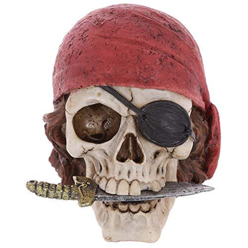 n-Schädel-Kopf mit rotem Bandana-Figürchen-Statue-Halloween-Skelett-Piraten-Todesskelett-Enthusiasten-Tischplattendekor, A ()