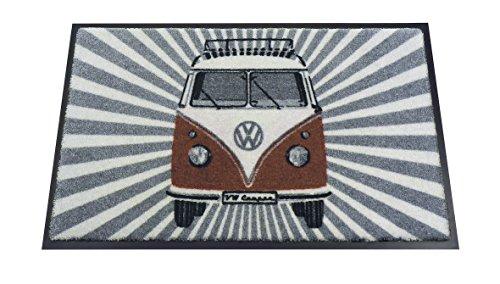 VW Collection by BRISA Fußmatte mit VW Bus T1 Vintage Logo (Rot/Strahlen)