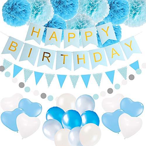 Happy Birthday Party Banner Dekorationen Zubehör, Happy Birthday Banner Flaggen, Ballons, Dreieck Bunting Flaggen, Seidenpapier Pom Pom Balls, String Polka Dot Garland für Jungen
