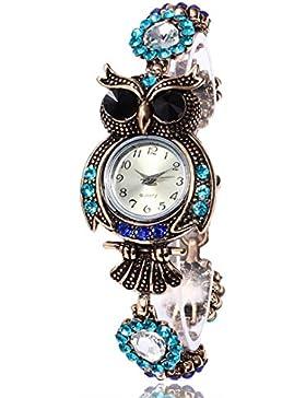 Ouneed® Uhren, Mütter Tag Geschenk Damen glitzer Bling Diamond Weinlese-Eulen-Art- und Weisefrauen Quarz-Armband-Marken-Uhr-Geschenk-Armbanduhr